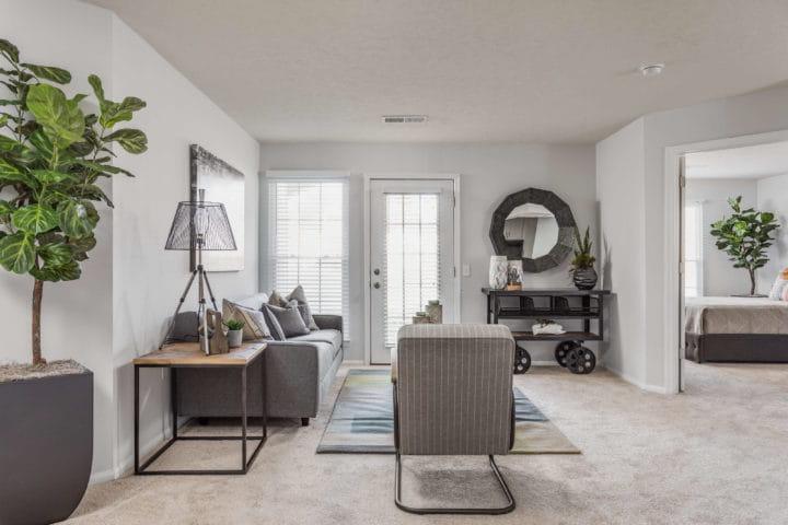 living room with patio door