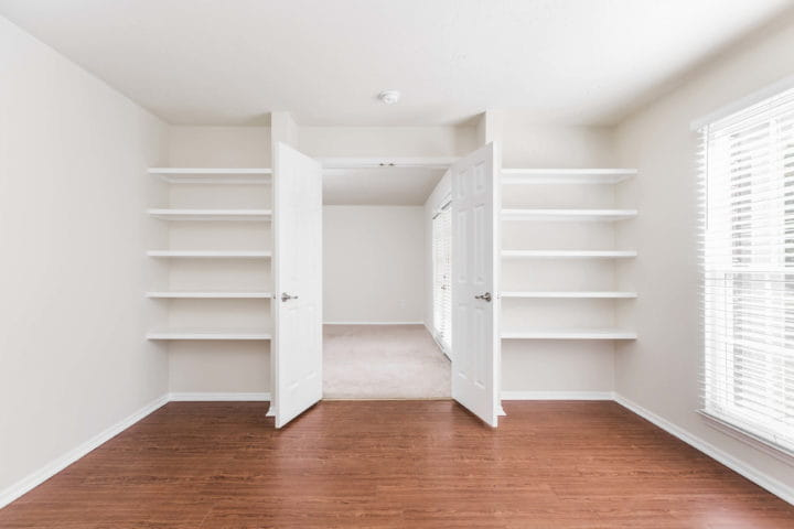 room with bookshelves