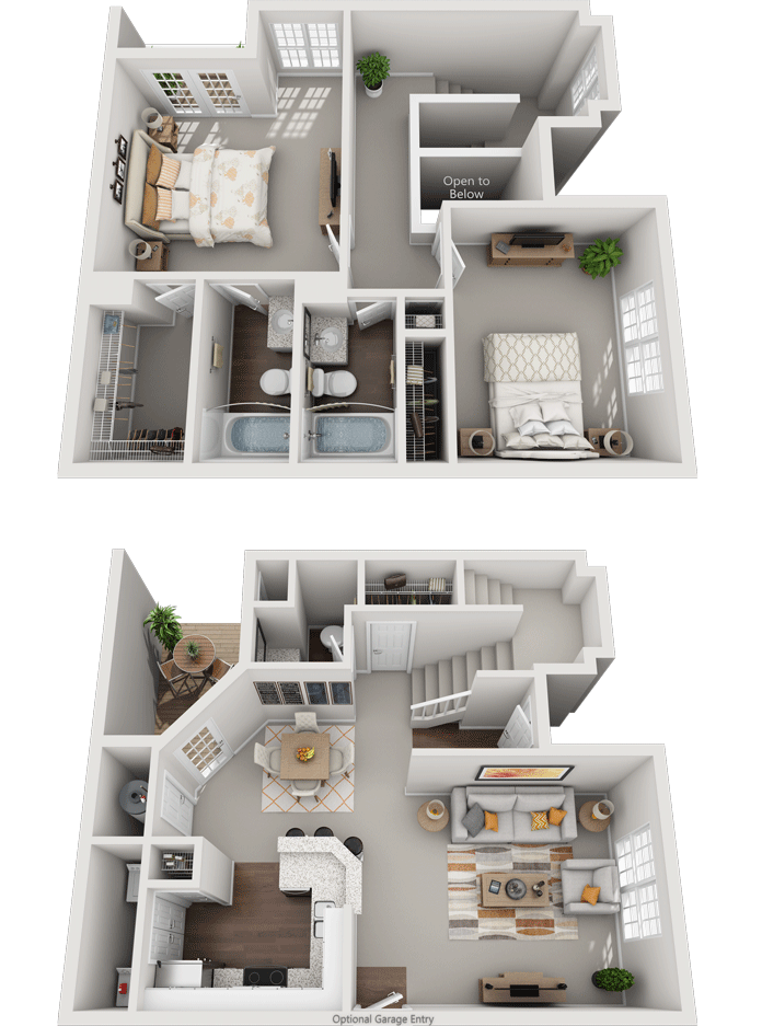 The Aintree, 2BD, 2.5BA Floor Plan