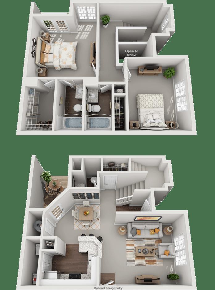 The Aintree, 2BD, 2.5BA Floor Plan