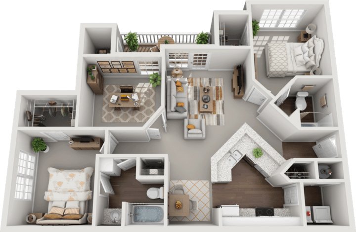 The Brighton 2bd 2ba Floor Plan