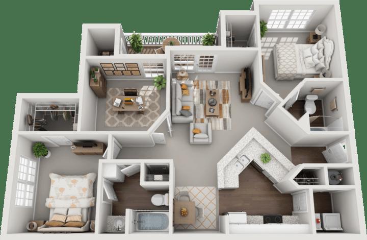 The Brighton, 2BD, 2BA Floor Plan