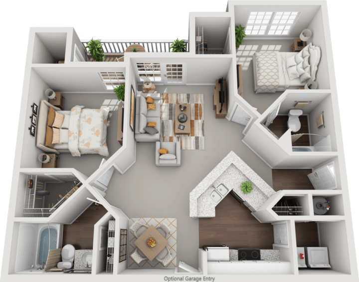 The Cheltenham, 2BD, 2BA Floor Plan