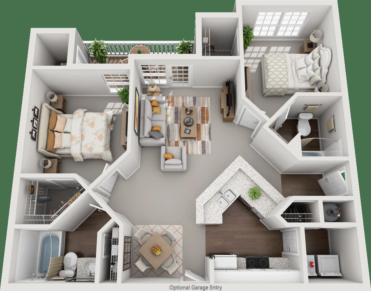 The Cheltenham, 2BD, 2BA Floor Plan