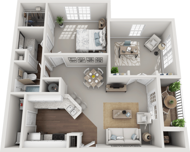 The Folkestone, 1BD, 1BA Floor Plan
