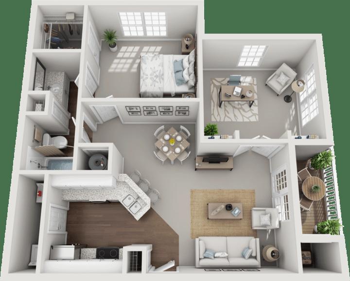 The Folkestone, 1BD, 1BA Floor Plan