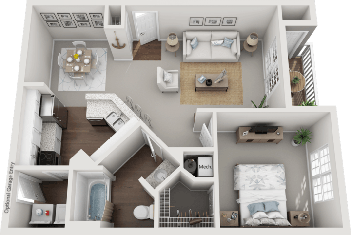 The Huntingdon, 1BD, 1BA Floor Plan