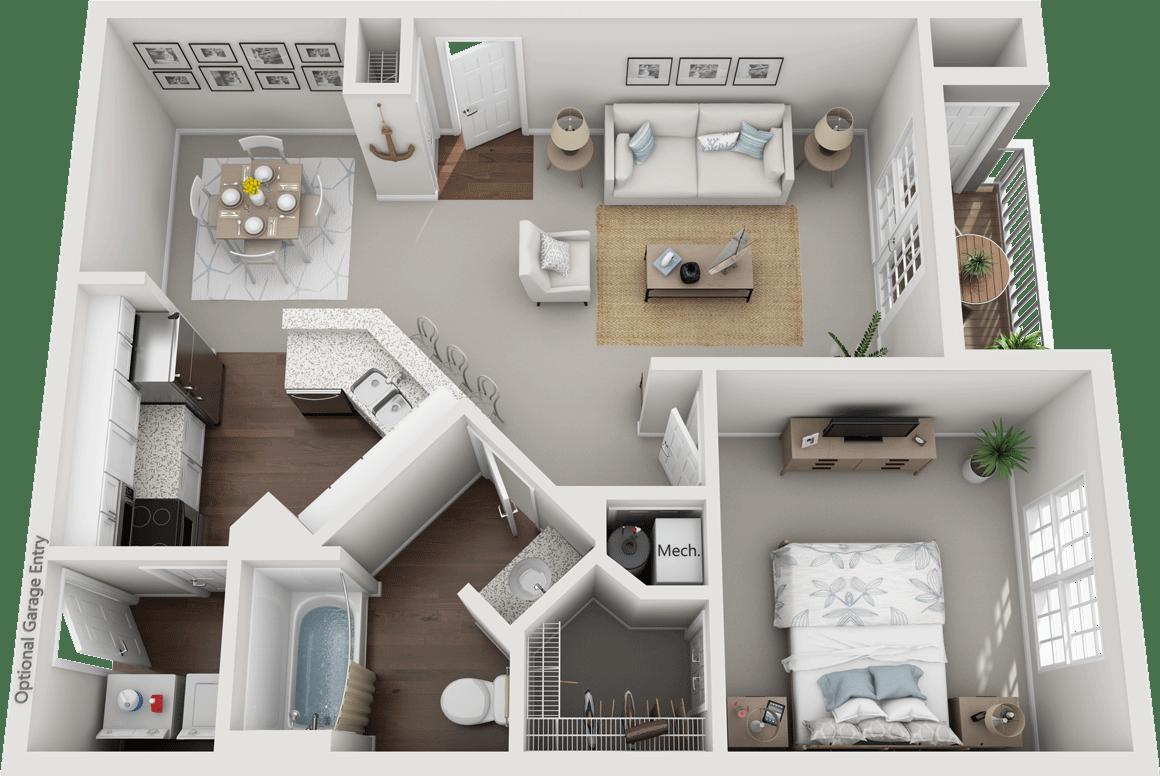 The Huntingdon, 1BD, 1BA Floor Plan