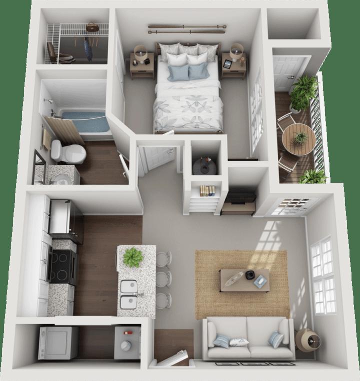 The Lingfield, 1BD, 1BA Floor Plan