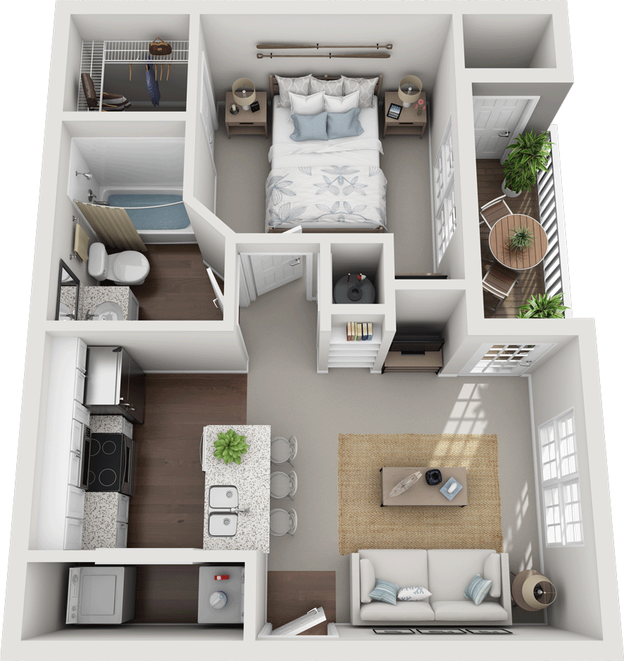 The Lingfield, 1BD, 1BA Floor Plan